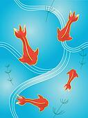 Japanese Style illustration of fish