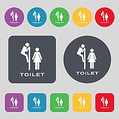toilet icon sign. A set of 12 colored buttons. Flat design.