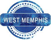 west memphis grunge blue stamp. Isolated on white.