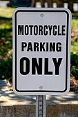 Motorcycle only parking sign