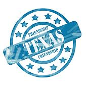 Blue Weathered Texas Stamp Circles and Stars