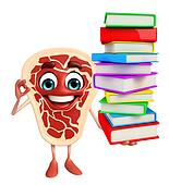 Meat steak character with Books pile