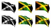 jamaica flags waving set front view