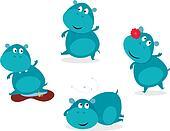 Cute happy blue hippopotamus