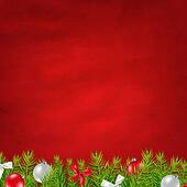 Retro Red Background And Fir Tree Border