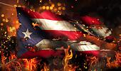 Puerto Rico Burning Fire Flag War Conflict Night 3D