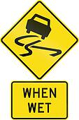 Road sign assembly in New Zealand - Slippery when wet