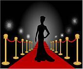 Woman Posing Red Carpet Vector