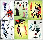 Six sport posters. Football, Ice h