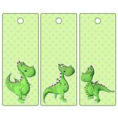 Cute tags or bookmarks with green dragon
