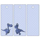 Cute tags or bookmarks with a blue dragon
