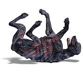 creepy alien dog out of hell. 3D rendering with clipping path and shadow over white