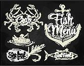 Set collection seafood menu chalk