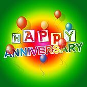 Happy Anniversary Represents Fun Joy And Celebrations