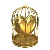 3d Gold heart in a bird cage