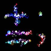 Lights in the shape of a plus, equals, period, and comma