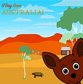 G'Day from Australia greeting card in vector format.