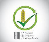 natural organic whole grain food product symbol icon concept art. a dark green tick mark with fresh green natural organic whole wheat grains with circular arrow around - concept design illustration