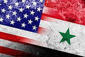 USA and Syria Flag with a vintage and old look