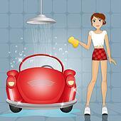 Woman at car wash