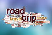Road trip word cloud with abstract background
