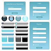 Light blue web template with forms, bars and buttons.