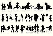 Silhouettes of children in various situations. A vector illustration