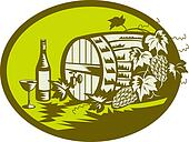 Wine barrel or wooden keg with grape vine and fruit and wine bottle and glass done in retro woodcut style.