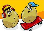 new potatoes potatoes cartoon illustration