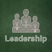 Finance concept: Business Team and Leadership on chalkboard background