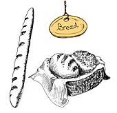 Bread. Hand drawn illustrations set
