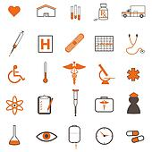 Various medical icons isolated on a white background.