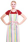 housewife wearing kitchen apron
