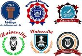 University and college emblems or badges