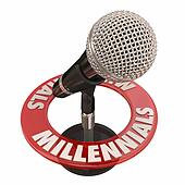 Millennials Word Microphone Voices Talking Interview Podcast Radio