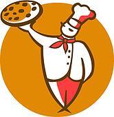 cartoon illustration of a cook holding, orange background -1