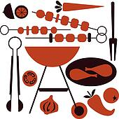 picnic and BBQ grill icon set