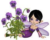 Cute Toon Purple Pansy Fairy, Sitti