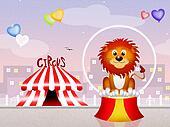 lion at circus