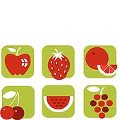 healthy summer fruit icons on green background