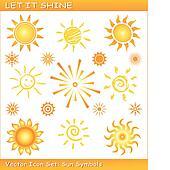 Let it shine / Vector sun icon set