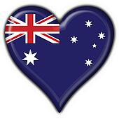Australian button flag heart shape