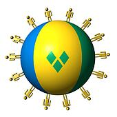 circle of abstract people around St Vincent flag sphere illustration