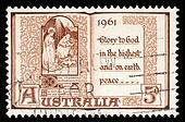 Australian postage stamp shows The Holy Virgin Mary and baby Jesus