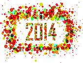 Happy New Year 2014 abstract circle background