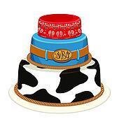 Cowboy party birthday cake.Vector illustration
