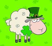 Irish Sheep On A Green Background