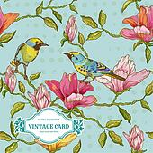 Vintage Card - Flowers and  Birds - for design and scrapbook in vector