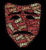 Grief Word Shows Broken Hearted And Anguish