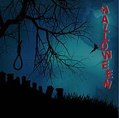 Halloween background with hangman noose text and graveyard